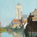 Willem Knip | Gezicht op Oudenaarde met de Sint-Walburgakerk in de verte | Kunsthandel Bies