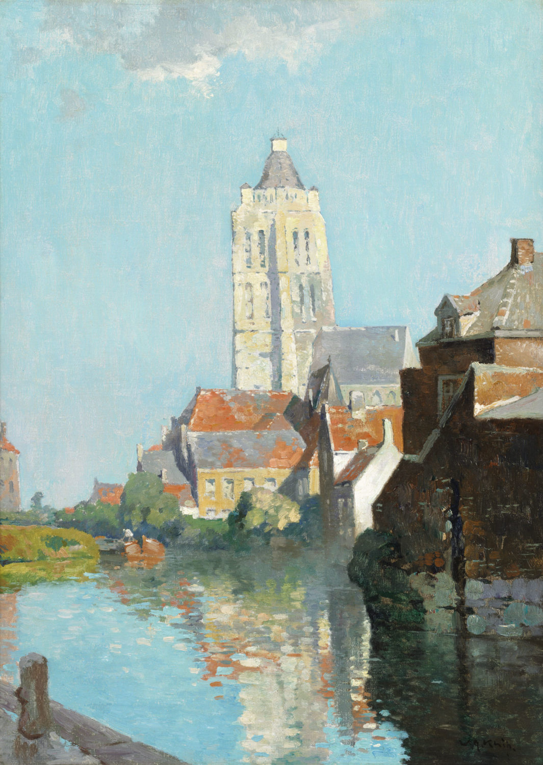 Willem Knip| A view of Oudenaarde with the Sint-Walburga church in the distance| Kunsthandel Bies| Bies Gallery