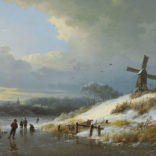 Barend Cornelis Koekkoek | Wintergezicht met figuren op het ijs | Kunsthandel Bies