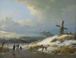 Barend Cornelis Koekkoek   Wintergezicht met figuren op het ijs   Kunsthandel Bies