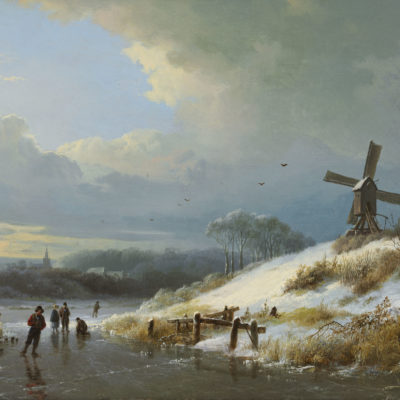Barend Cornelis Koekkoek | Wintergezicht met figuren op het ijs | Kunsthandel Bies