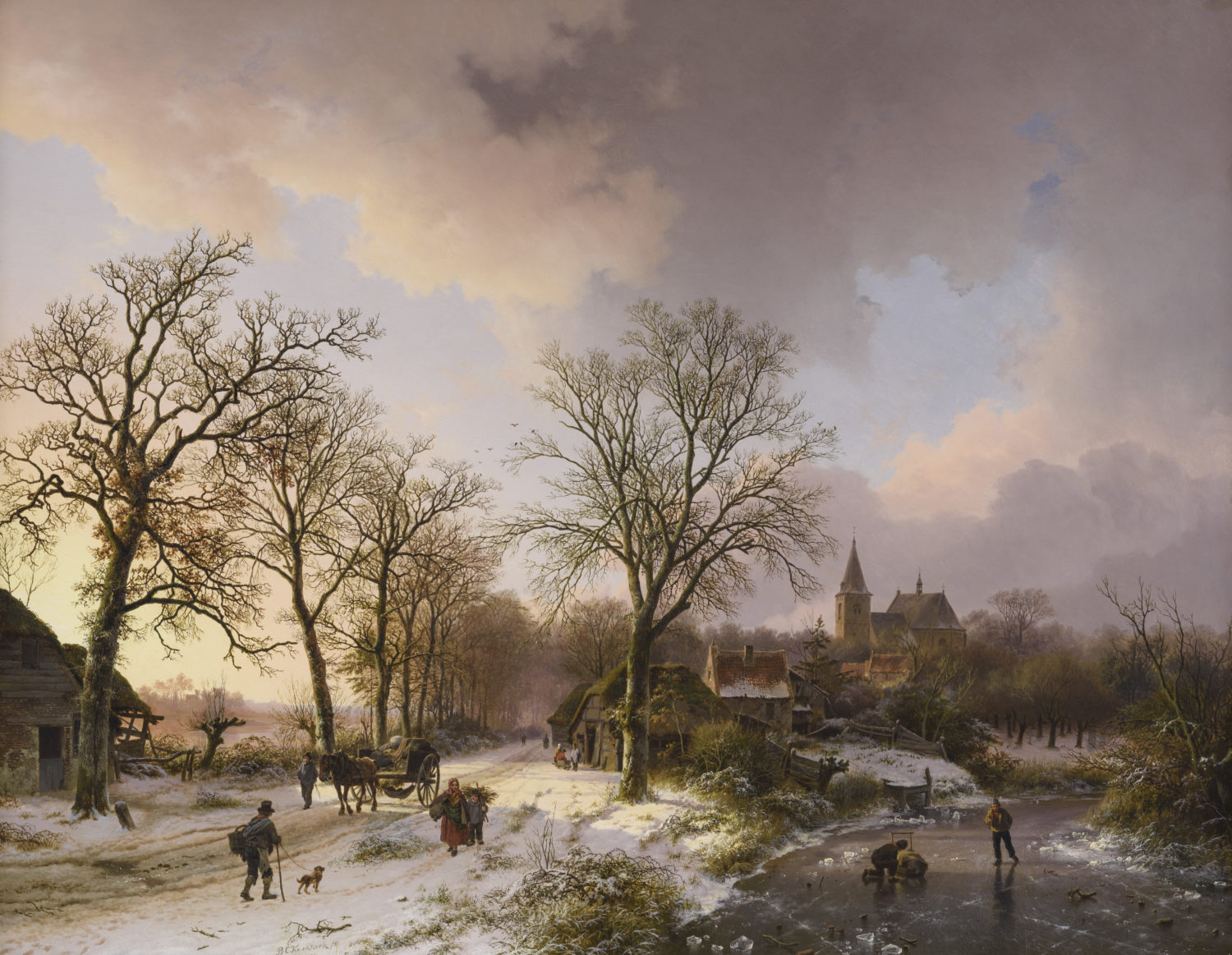 Barend Cornelis Koekkoek | A winter landscape with figures near Bedburg (currently Bedburg-Hau) near Cleves