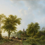 Barend Cornelis Koekkoek | Zomers rivierlandschap met figuren en vee bij een overzetveer | Kunsthandel Bies