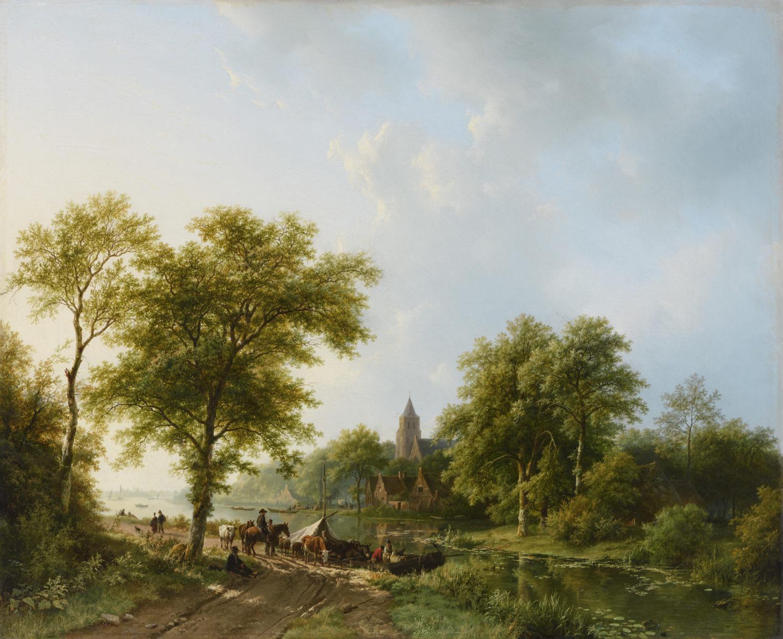 koekkoek-barend-cornelis-zomers-rivierlandschap-met-figuren-en-vee-bij-een-overzetveer-e1468417964534.jpg