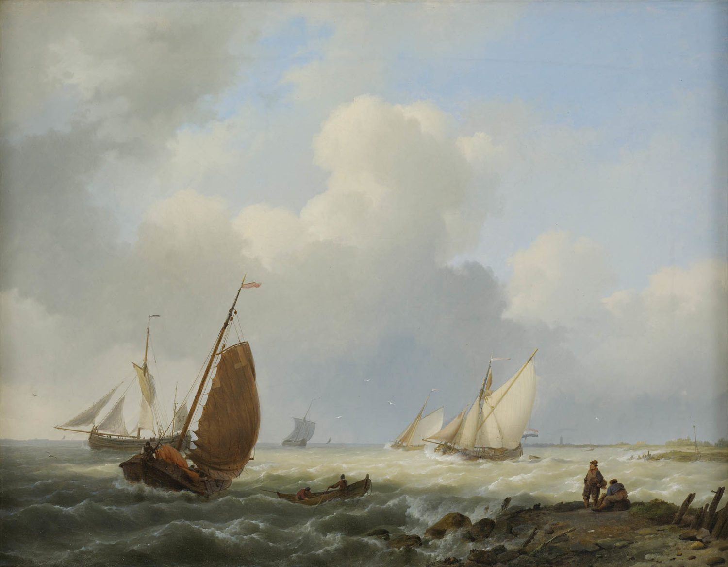 Hermanus Koekkoek | Ships off the coast | Kunsthandel Bies | Bies Gallery