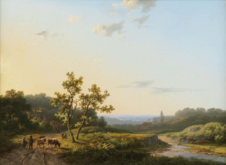 Marinus Adrianus Koekkoek | Zomers heuvellandschap met personen en vee | Kunsthandel Bies