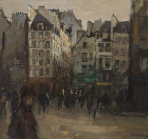 Jan Korthals | Stadsgezicht met vele figuren op straat | Kunsthandel Bies