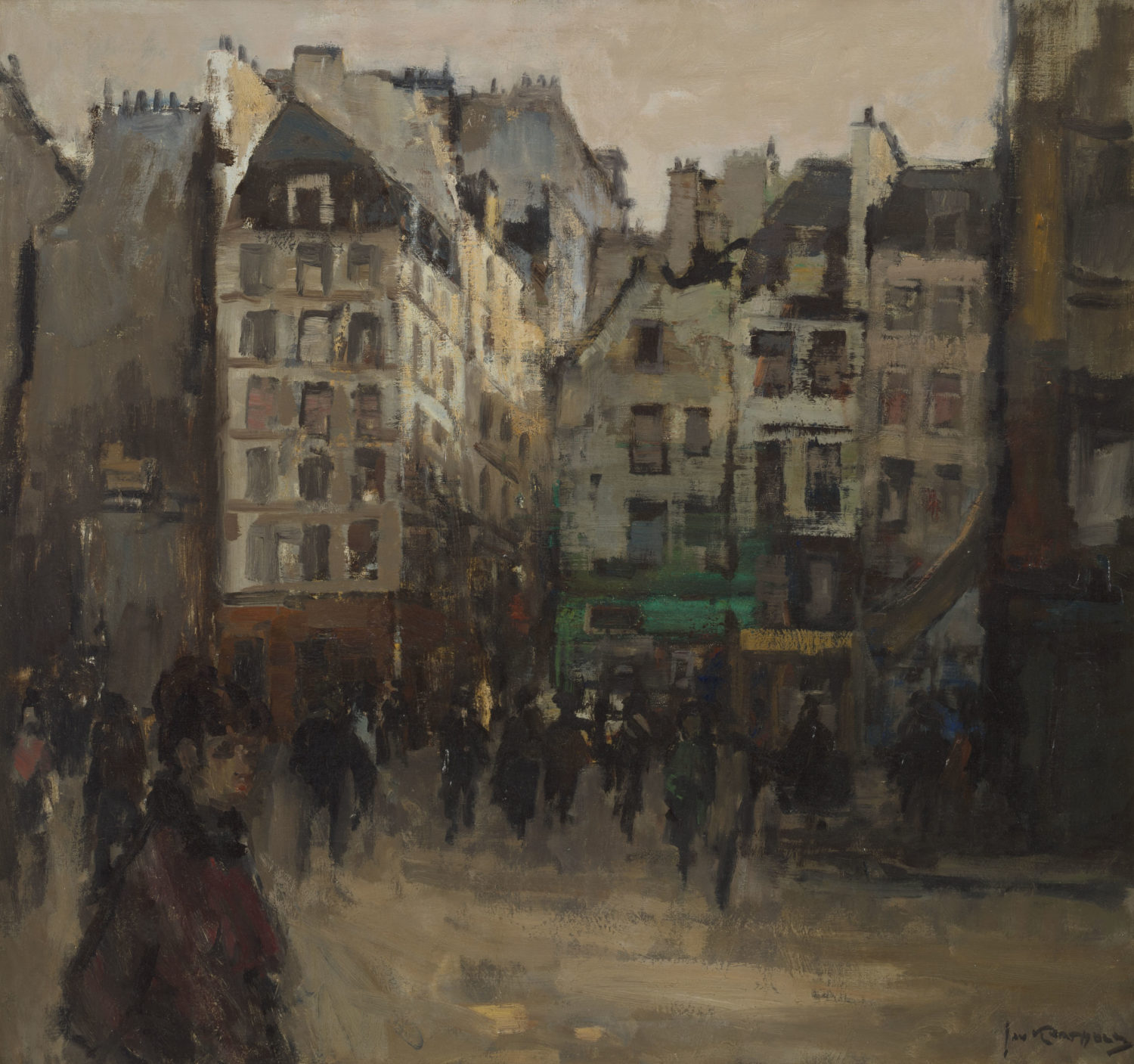Jan Korthals | A town view with many figures | Kunsthandel Bies | Bies Gallery