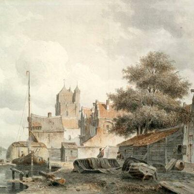 Everhardus Koster | Gezicht op een stad aan het water | Kunsthandel Bies