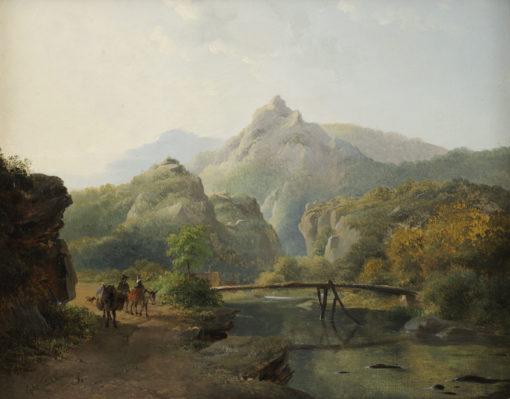 Frederik Marinus Kruseman | Bergachtig landschap met reizigers op een weg langs een rivier | Kunsthandel Bies