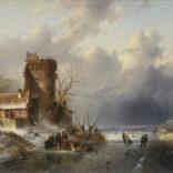Charles Leickert | Een Hollands winterlandschap met figuren op het ijs | Kunsthandel Bies