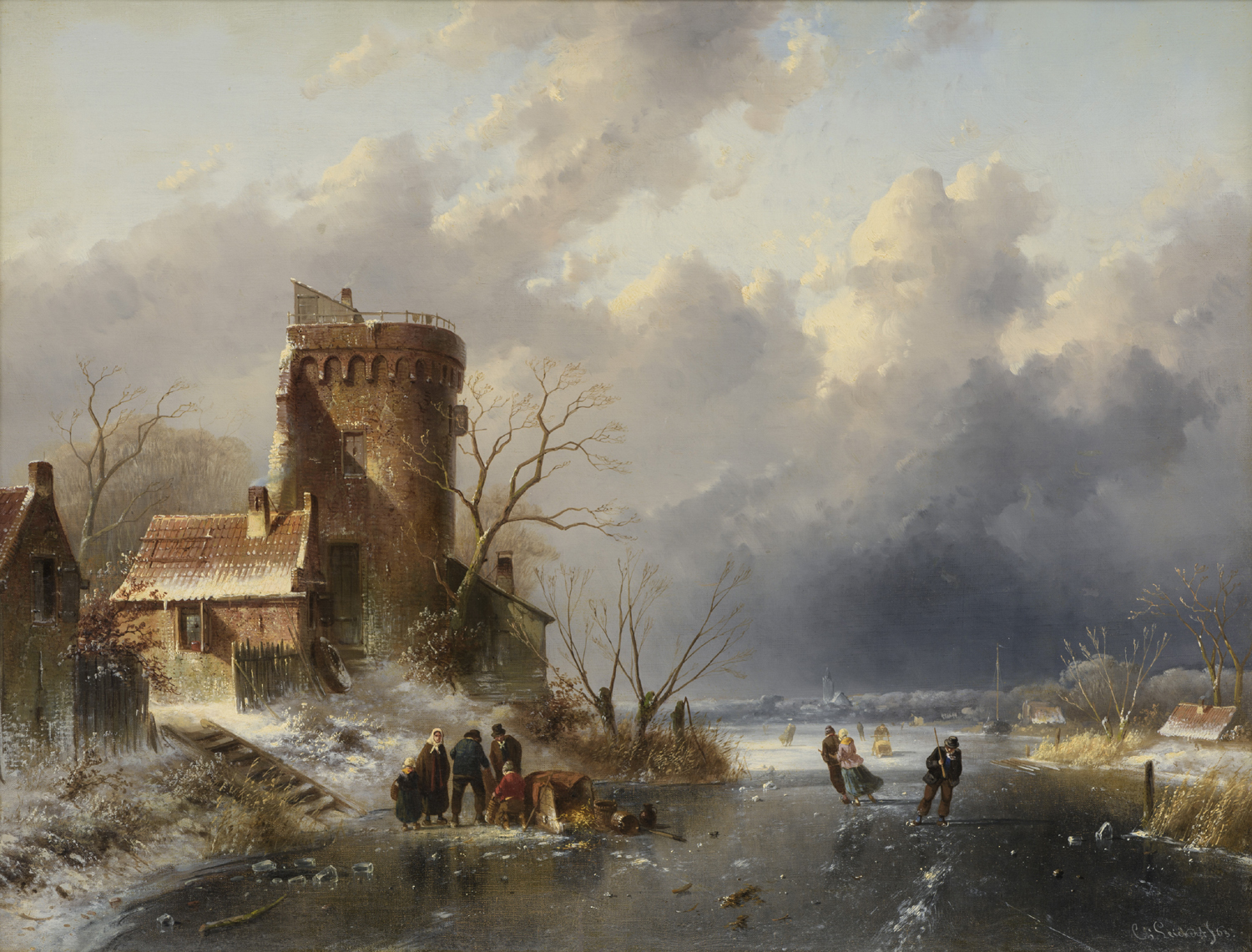 Charles Leickert | A Dutch winter landscape with figures on the ice | Kunsthandel Bies | Bies Gallery