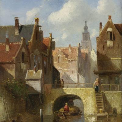 Charles Leickert | Een Hollands stadsgezicht | Kunsthandel Bies