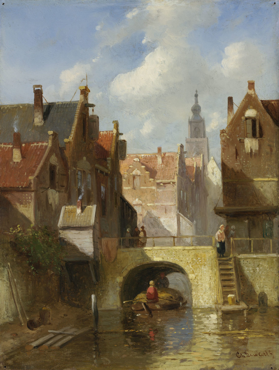 Charles Leickert | A view of a Dutch town| Kunsthandel Bies | Bies Gallery