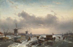 Charles Leickert | Een Hollands winterlandschap met molens en een koek-en-zopie op de voorgrond | Kunsthandel Bies