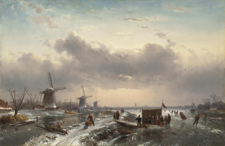 Leickert, Charles | Een Hollands winterlandschap met molens en een koek-en-zopie op de voorgrond | Kunsthandel Bies