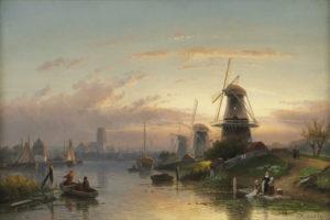 Charles Leickert | Gezicht op de Rotte bij Rotterdam | Kunsthandel Bies
