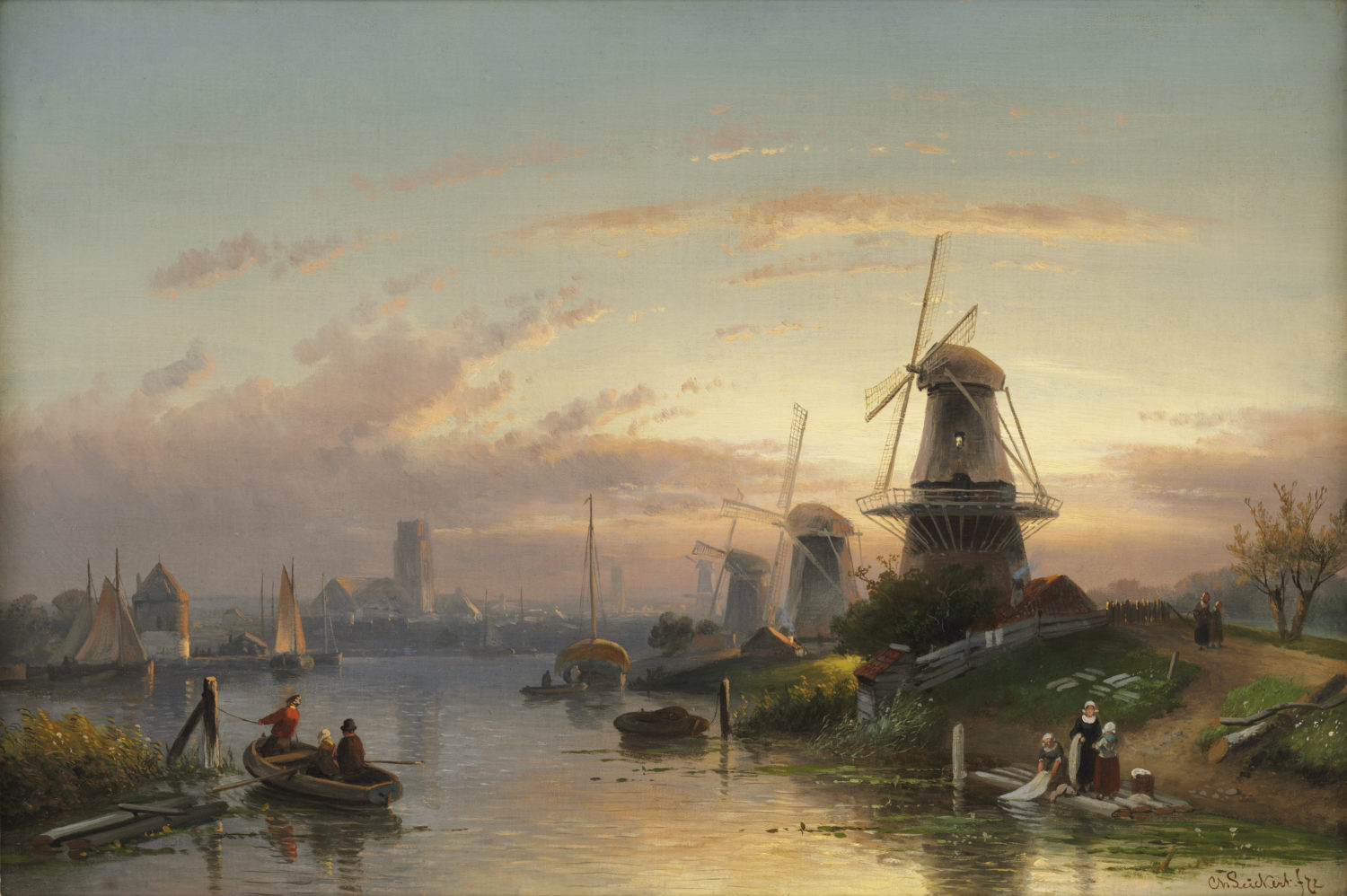 Charles Leickert | A view of the river Rotte near Rotterdam | Kunsthandel Bies | Bies Gallery