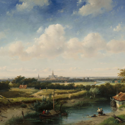 Charles Leickert | Panoramisch landschap met een watermolen op de voorgrond | Kunsthandel Bies