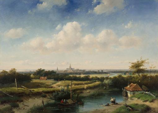 Charles Leickert | Panoramisch landschap met een watermolen op de voorgrond | Kunsthandel Bies