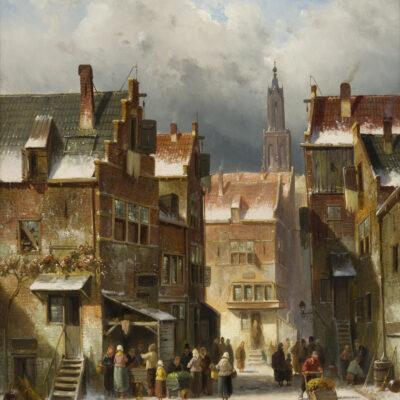 Charles Leickert | Dorpsgezicht in de winter met vele figuren | Kunsthandel Bies