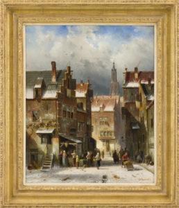 Charles Leickert | Dorpsgezicht in de winter met vele figuren | met lijst | Kunsthandel Bies