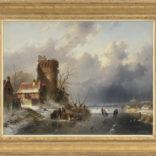 Charles Leickert | Een Hollands winterlandschap met figuren op het ijs
