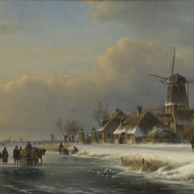 Lodewijk Johannes Kleijn | Wintergezicht met molen, figuren en een paardenslee op het ijs | Kunsthandel Bies