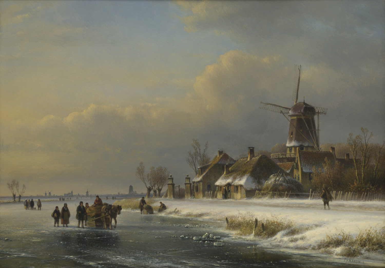 Lodewijk Johannes Kleijn | A frozen river scene with a windmill, figures and a horse-drawn sleigh | Kunsthandel Bies | Bies Gallery