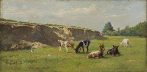 Dirk Peter van Lokhorst | Zomerlandschap met geiten | Kunsthandel Bies