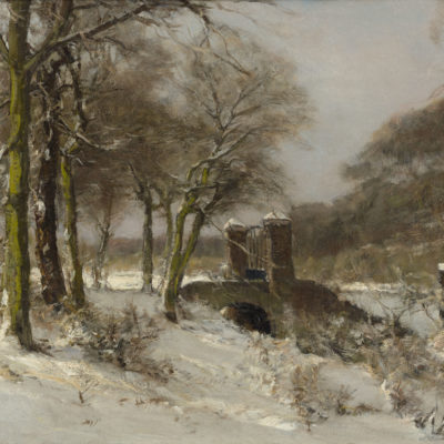 Louis Apol | Haagse Bos in de winter met toegangspoort | Kunsthandel Bies