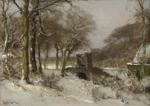 Louis Apol | Haagse Bos in de winter met toegangspoort | Kunsthandel Bies