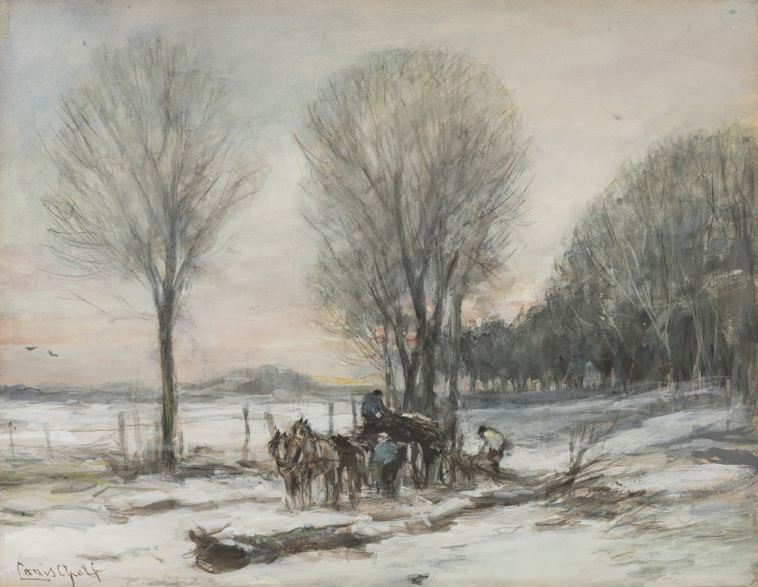 Louis Apol | Loading a horse-drawn cart in a snow covered landscape| Kunsthandel Bies | Bies Gallery