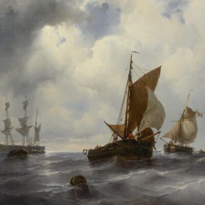 Louis Meijer | Zeegezicht met zeilschepen | Kunsthandel Bies