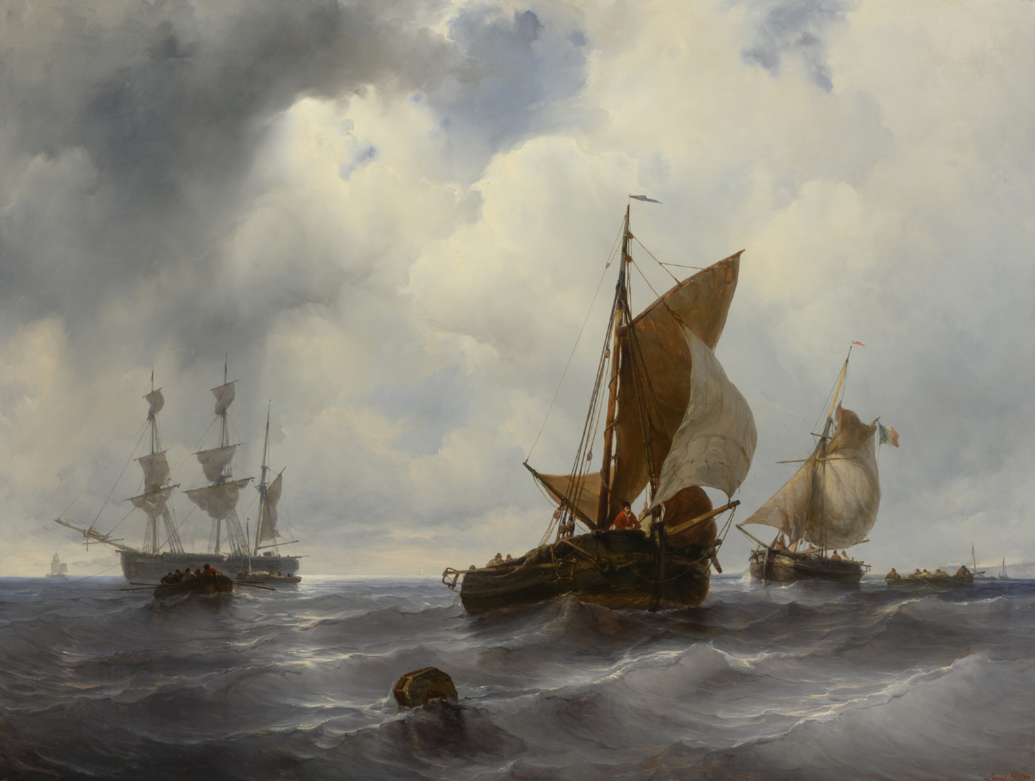 Louis Meijer | A seascape with sailing vessels | Kunsthandel Bies | Bies Gallery