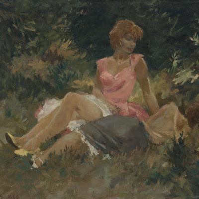 Harry Maas | Twee meisjes in het gras | Kunsthandel Bies
