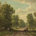 Jacob Jan van der Maaten | Boomrijk landschap met koeien en figuren op een landweg | Kunsthandel Bies