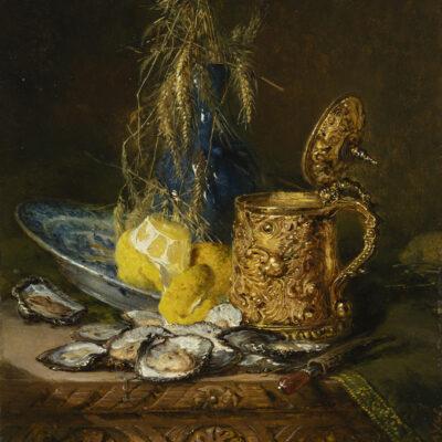 Maria Vos | Stilleven met oesters, citroen en dekselkan | Kunsthandel Bies