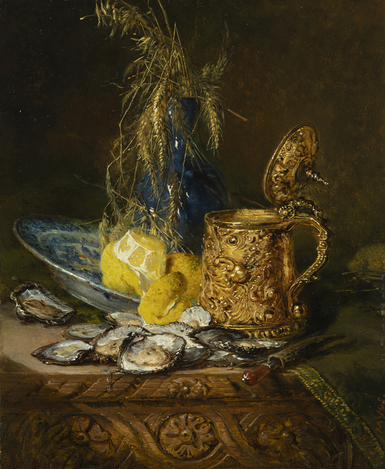 Maria Vos | A still life with oisters, lemon and a lidded jug | Kunsthandel Bies | Bies Gallery