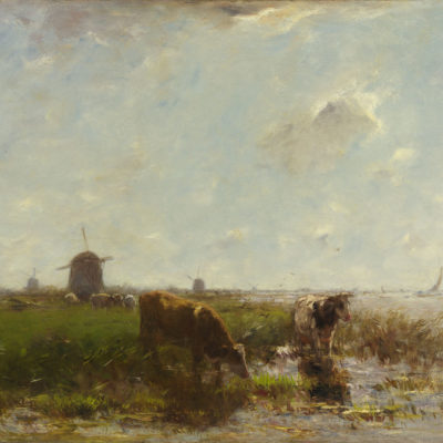 Willem Maris | Koeien in een polderlandschap bij Gorinchem | Kunsthandel Bies