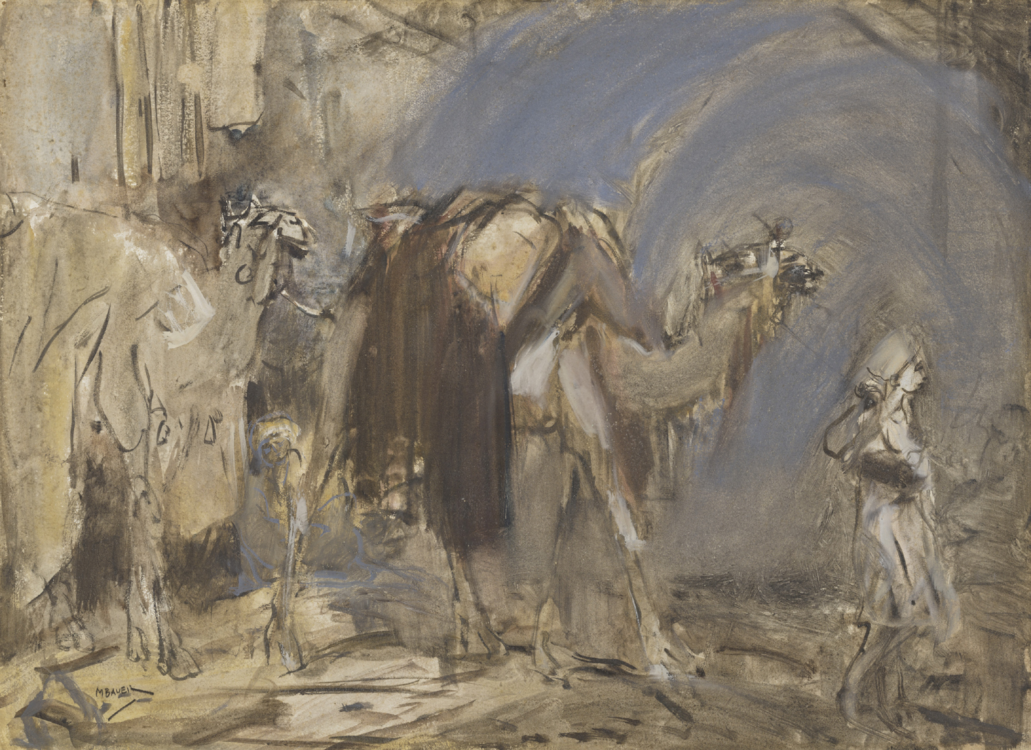 Marius Bauer | Camels loaded with bags | Kunsthandel Bies | Bies Gallery