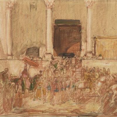 Marius Bauer | Cérémonie en Orient/Optocht voor een paleis | Kunsthandel Bies