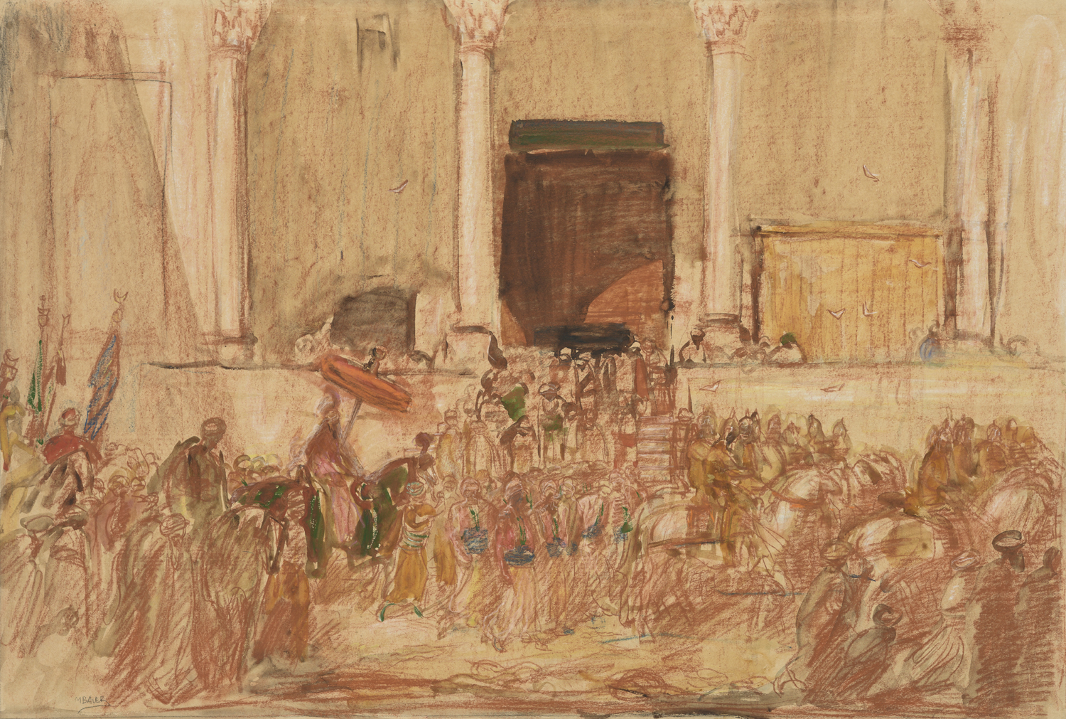 Marius Bauer | Cérémonie en Orient/ A parade in front of a palace | Kunsthandel Bies | Bies Gallery