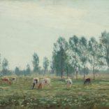 Johan Meijer   Zomers landschap met koeien   Kunsthandel Bies