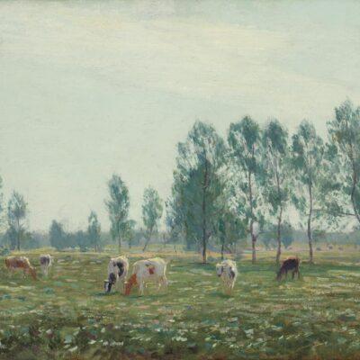 Johan Meijer | Zomers landschap met koeien | Kunsthandel Bies
