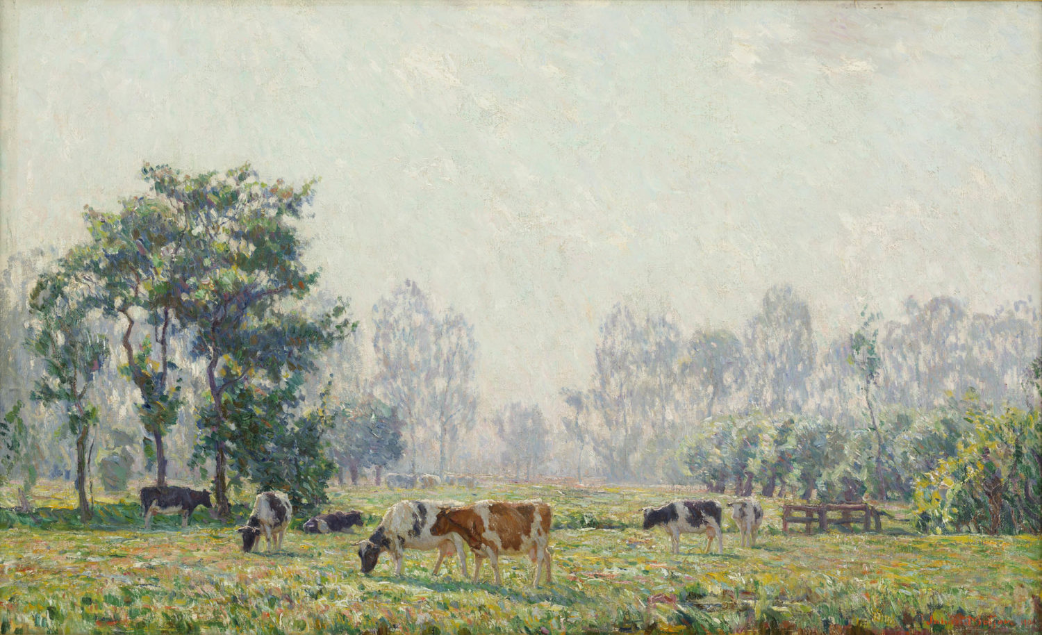 Johan Meijer | A summer landscape with cows| Kunsthandel Bies| Bies Gallery