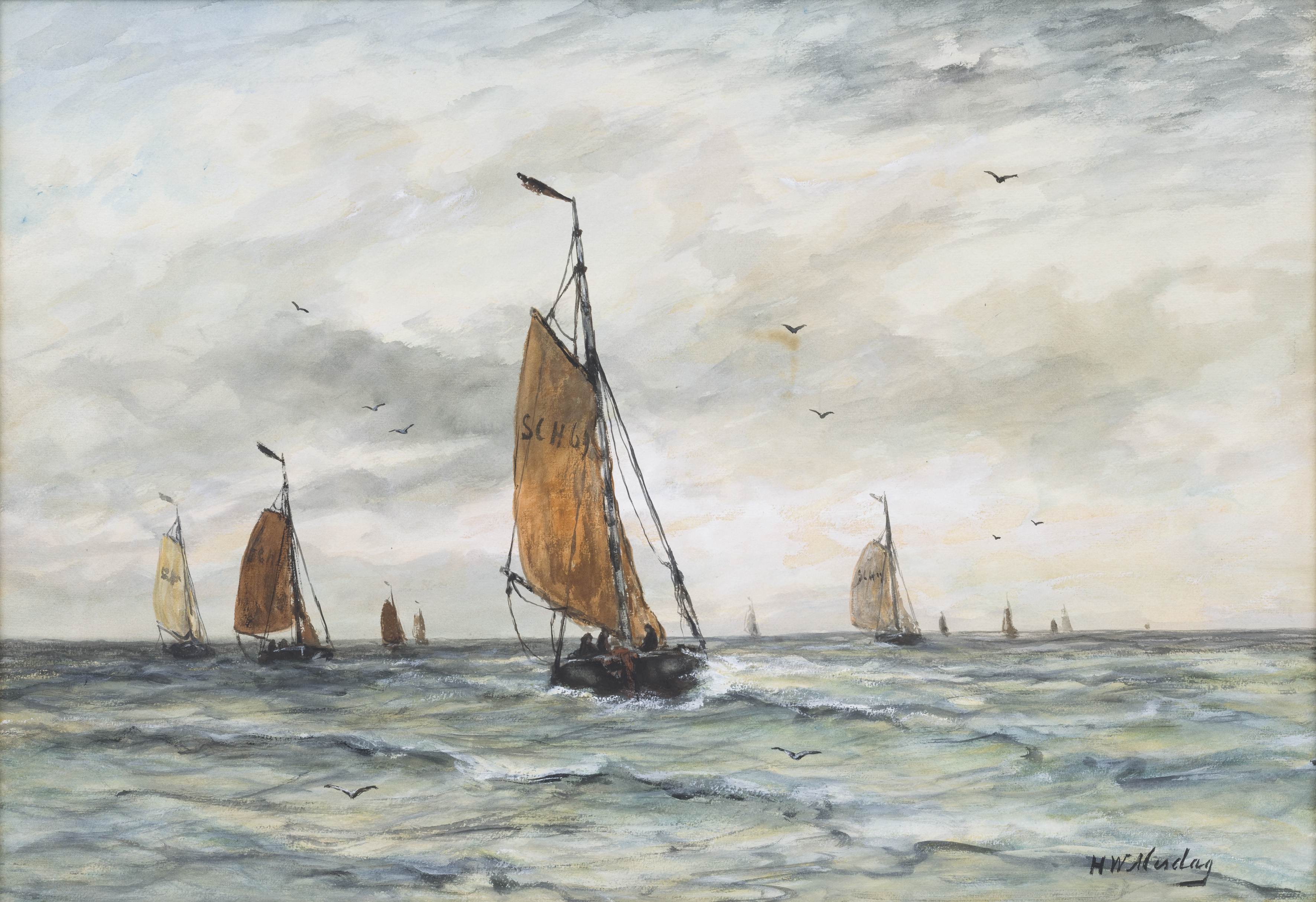 Hendrik Willem Mesdag | Sailing vessels at sea | Kunsthandel Bies | Bies Gallery