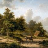 Jan Evert Morel II   Zomers landschap met figuren op een landweg   Kunsthandel Bies