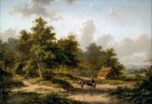 Jan Evert Morel II | Zomers landschap met figuren op een landweg | Kunsthandel Bies