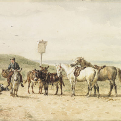 Willem Karel Nakken | Ezeltjes en paarden op het strand | Kunsthandel Bies